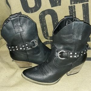 Very Volatile Leather Rhinestone Buckle Boots